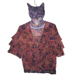 Zara accessories sheer M ruffle blouse